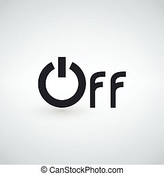 Power off word icon, minimalistic simple flat design isolated on light background, vector