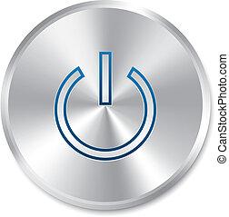 Power on button. Vector turn on round sticker.
