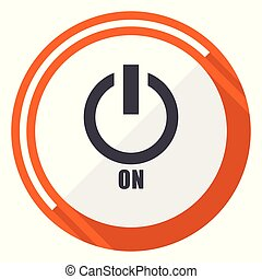 Power on flat design orange round vector icon in eps 10