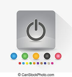 Power on off button icon. Sign symbol app in gray square shape round corner with long shadow vector illustration and color template.