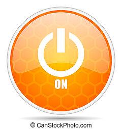 Power on web icon. Round orange glossy internet button for webdesign.