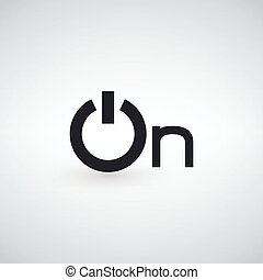Power on word icon, minimalistic simple flat design isolated on light background, vector