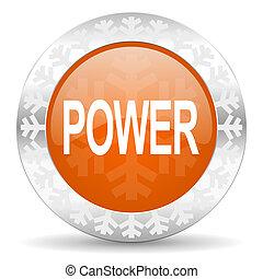 power orange icon, christmas button