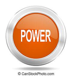 power orange icon, metallic design internet button, web and mobile app illustration