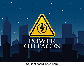 Power Outage, logo on the blue background of the city without electricity