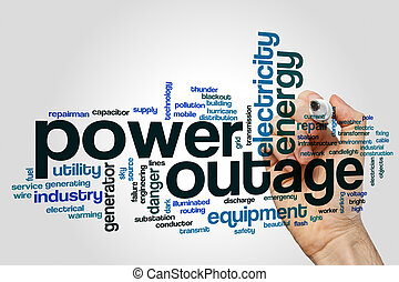 Power outage word cloud concept on grey background