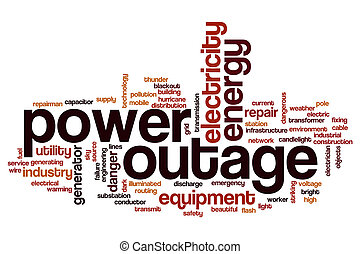 Power outage word cloud concept