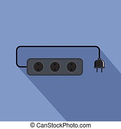 Power outlet icon, flat style