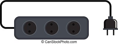 Power outlet icon, flat style - Power outlet icon. Flat ...
