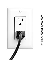 power outlet with plugged in cord, closeup isolated on white. limited dof, focus on outlet.