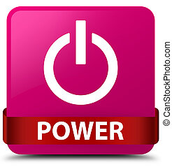 Power pink square button red ribbon in middle