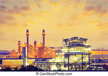 Power plant and factory at twilight time.