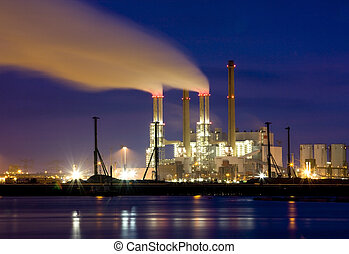 Power plant at night at the Maasvlakte, Europoort, The...
