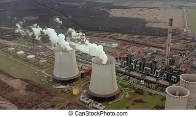 Power plant cooling tower aerial view - Power plant cooling...