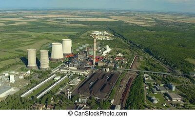 Power plant cooling towers aerial view - Power plant and ...