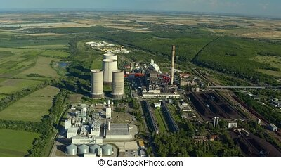 Power plant cooling towers aerial view - Power plant cooling...