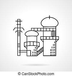 Power plant flat line vector icon