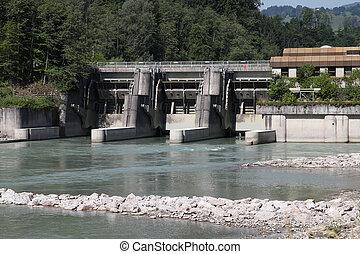 Hydro power plant on Salzach river in Schwarzach im Pongau, Austria. Concrete dam.
