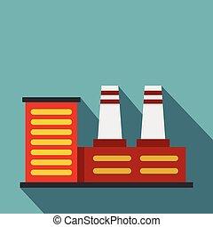 Power plant icon, flat style