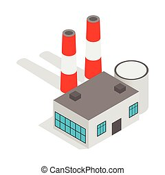Power plant icon, isometric 3d style