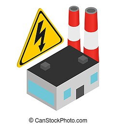 Power plant icon. Isometric illustration of power plant icon for web