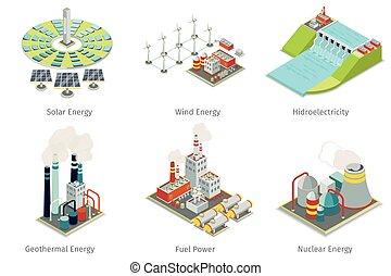Power plant icons. Electricity generation plants and sources. Electricity energy, hydroelectricity energy, geothermal energy, solar and wind energy. Vector illustration