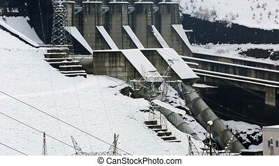 power plant in winter tilt shoot