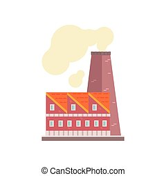 Power plant or factory, industrial manufactury building vector illustration