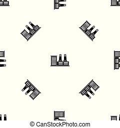 Power plant pattern seamless black