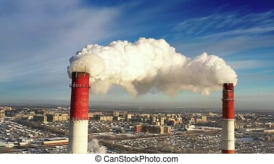 power plant pipes on the background of the panorama of the...
