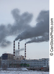Power plant pollutes atmosphere