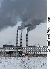 Power plant pollutes the environment
