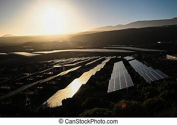 Power Plant Renewable Energy Wind Turbines and Solar Panels