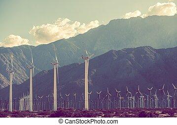 Power Plant Scenery. Wind Turbines in Coachella Valley,...