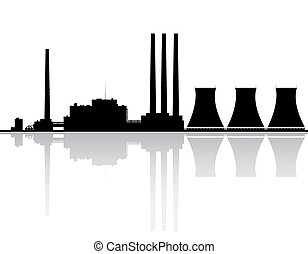 Power Plant Silhouette - Silhouette of a power plant.
