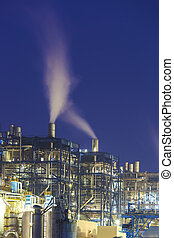 Power plant smoke at night