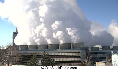 Power plant smoke stacks