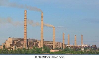 Power Plant Smoke Stacks Polluting Atmosphere