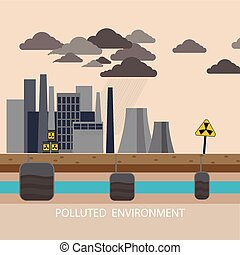 Power plant smokestacks emitting smoke over urban cityscape in cartoon style. Smokestack in factory with black yellow sky and clouds. Polluted environment