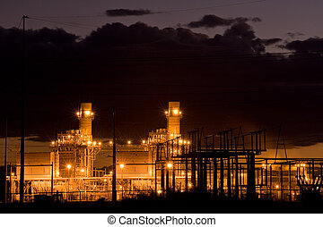 Power plant - Coil power plant at night in New Mexico, USA