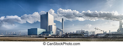 power plant - panorama of a coal fired power plant in the...