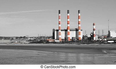 Power plant. Two shots. Colour tint