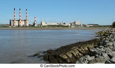 Power plant. Wide angle. - Power plant by the sea. 260...