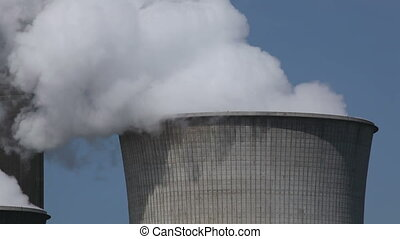 Power plant with huge cooling towers