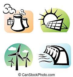 power plants set, energy concept