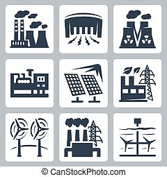 Power plants vector icons set: thermal, hydro, nuclear,...