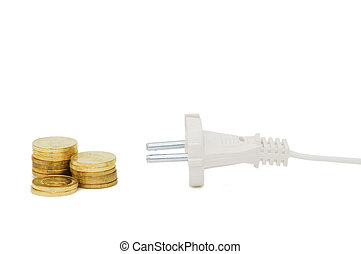 power plug and money concept energy costs