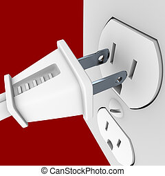 Power Plug and Outlet - A white electrical power cord about...