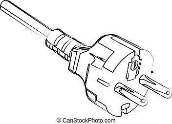 power plug contour vector illustration