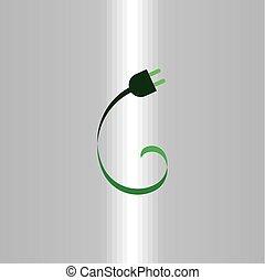 power plug eco green icon logo vector element